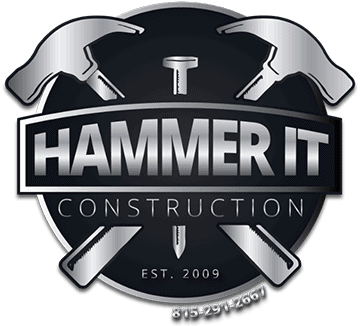 The Hammer It logo-- Two hammers crossed over a nail with the words Hammer It Construction on a banner across all three